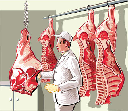 Butcher in a slaughterhouse, divides a side of beef into pieces of meat.