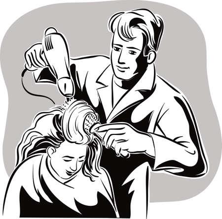 彼のスタジオは、asciugae は、クライアントに髪を櫛中で美容師。 写真素材 - 83429934