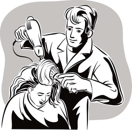 Hairdresser in his studio, while asciugae combs the hair to a client. Фото со стока - 83429934