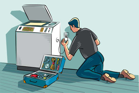 Technician in an office, are installing a device for photocopying. Иллюстрация