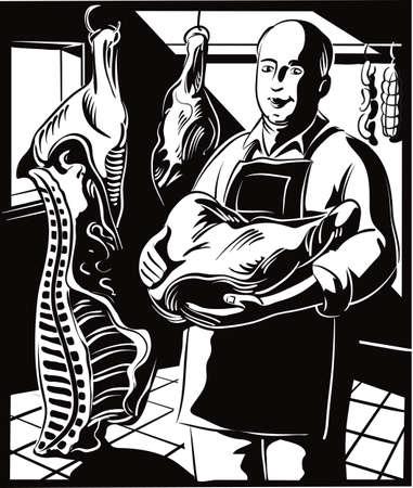 Slager, die een groot stuk vlees bij zich heeft, klaar voor verkoop.