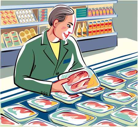 冷蔵キャビネットにきちんとコミットできる倉庫業者が作りたての新鮮なパック、鶏の胸肉と肉のスライス。  イラスト・ベクター素材