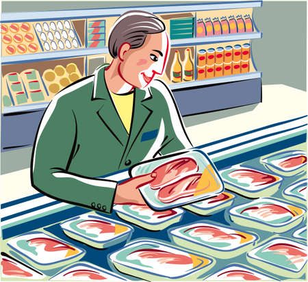 Committed warehouseman, has neatly the fresh packs freshly prepared, chicken breast and slices of meat in a refrigerated cabinet. Illustration