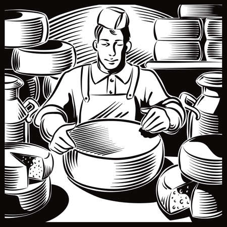 Young cheese maker, in a dairy farm, while controlling the ripening of certain types of cheese. Ilustrace