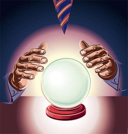 Manager berät die Kristallkugel. Metapher der Unmöglichkeit, rationale Entscheidungen zu treffen. Standard-Bild - 83429940