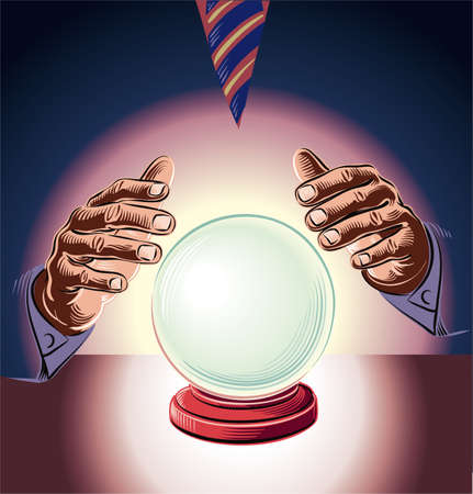 Manager consults the crystal ball. Metaphor of the impossibility of making rational decisions.