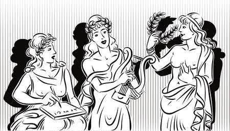 3 つの古典的な 9 をミューズします。文学・音楽のミューズ ・ シアターの女神ミューズ