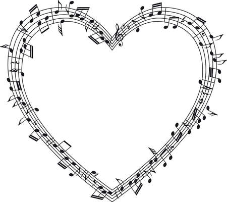 Musical staff with notes, heart-shaped.