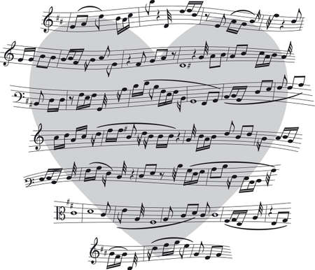 ハートの形の背景上の音符とリーギ。  イラスト・ベクター素材