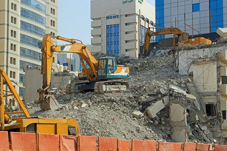 Demolición de un edificio de la conceptualización de la construcción y de la salud y la seguridad