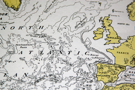 Map Of The North Atlantic Showing The UK And North West Europe Stock ...