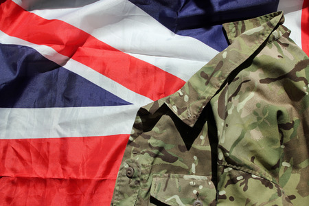 UK military uniform against the Union Flag photo