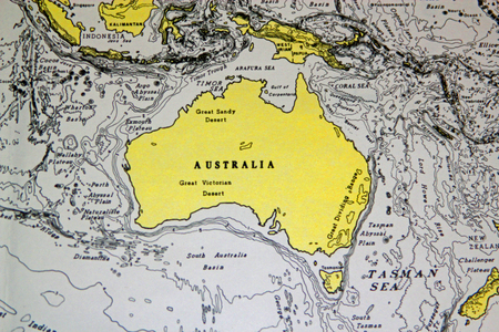 victoria: Background map showing a close-up of Australia