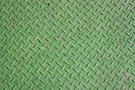 iron oxide: Background sheet of green metal with pattern Stock Photo