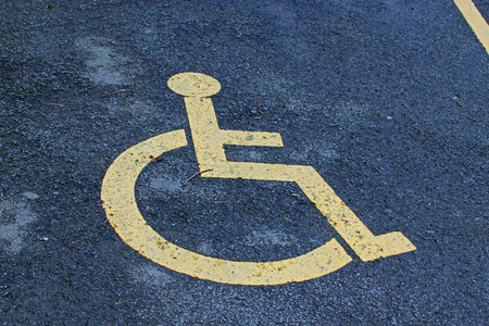 wheelchair access: Sign for a disabled parking space Stock Photo