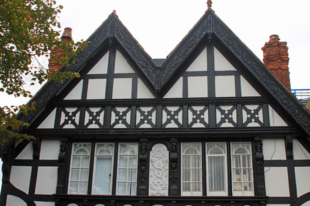 tudor: Tudor building in Chester, England with black and white facade and leaded windows