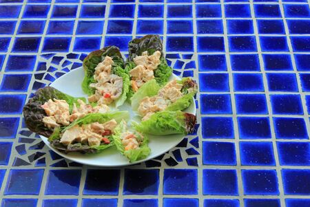 al fresco: Plate of chicken salad in lettuce wraps on a blue mosaic table symbolizing healthy eating, al fresco eating and fresh summer salads Stock Photo