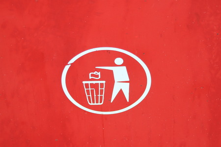 wastebasket: White rubbish disposal symbol on a red background