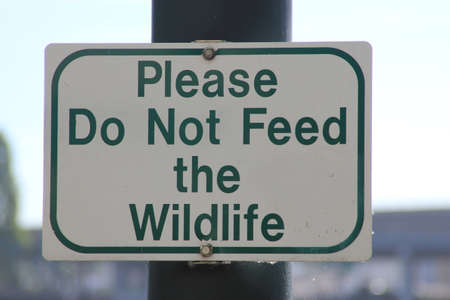 stating: Sign on a post stating Please Do Not Feed the Wildlife