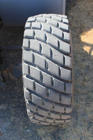 tyre tread: Large new tire or tyre showing the deep tire tread