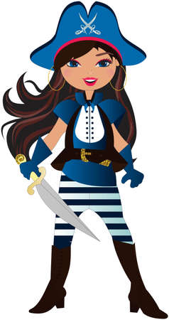 she: She is the girl pirates Illustration