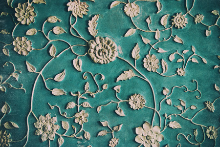 dusty: Vintage Background with Floral Pattern - Dusty and scratched old background Stock Photo