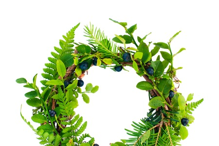 herbal background: Natural Round Wreath Frame on White Background. Greeting Card - Decorative Elements for Design