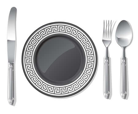 Realistic vector black plate and silver spoon, fork, table knife. Illustration