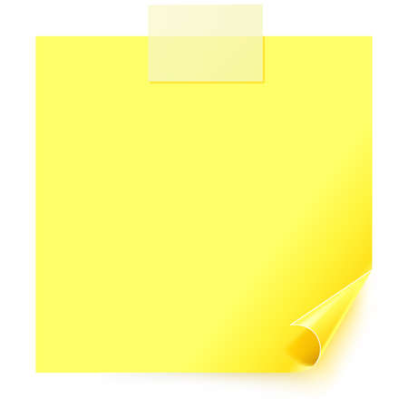 Yellow sticker with the curled corner and paper.