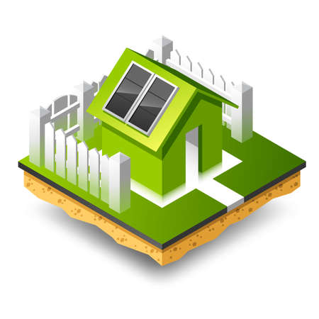Small isometric house with solar panel. White fence, footpath. Illustration