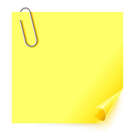 Yellow sticker with the curled corner and steel paper clip on white background.