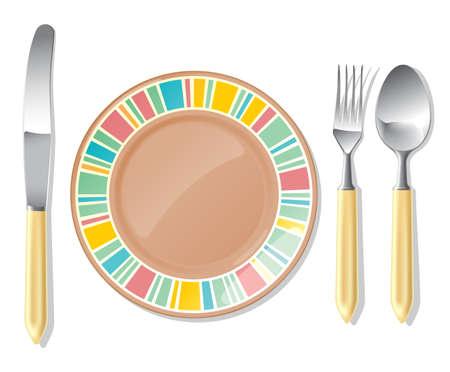 Realistische vector bruine plaat en stalen lepel, vork, tafel mes. Stock Illustratie