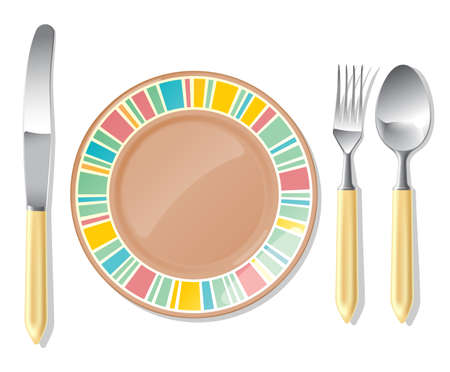 Realistic vector brown plate and steel spoon, fork, table knife. Illustration
