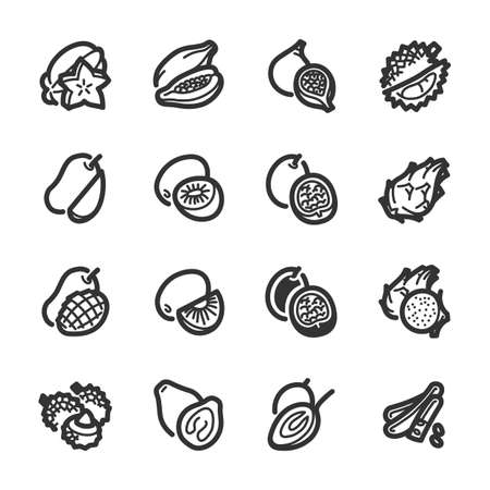 Exotic fruits icons. Professional vector icons for your website, application and presentation. Illustration