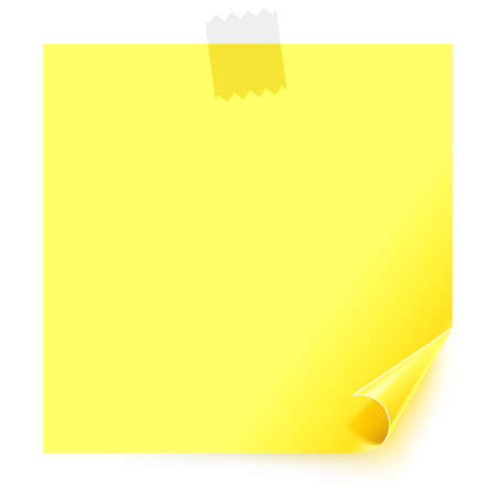 Yellow sticker with the curled corner and adhesive tape on white background.