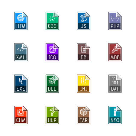 File type icons: Websites and applications - Linne Color Illustration