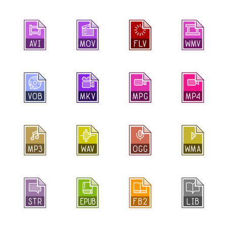 wmv: File type icons: Video, sound, and books - Linne Color