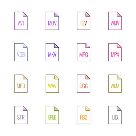 File type icons: Video, sound, and books - Linne UL Color Illustration