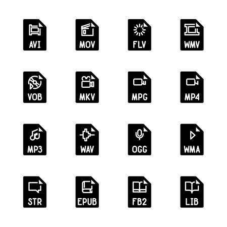 File type icons - Video, sound, and books