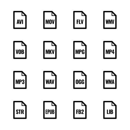 File type icons - Video, sound, and books Vector Illustration