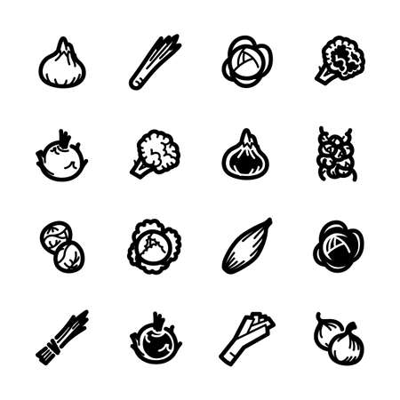 A vegetables icons set on a white background.