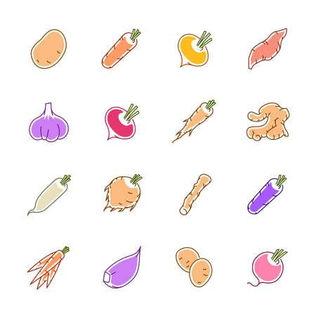 Gemüseikonen - Kartoffel, Karotte und Knoblauch.