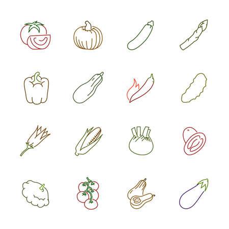Vegetables icons. Vegetables vector illustration.