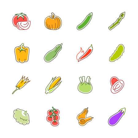 Vegetables icons. Vegetables and seasoning in filled outline style. Illustration