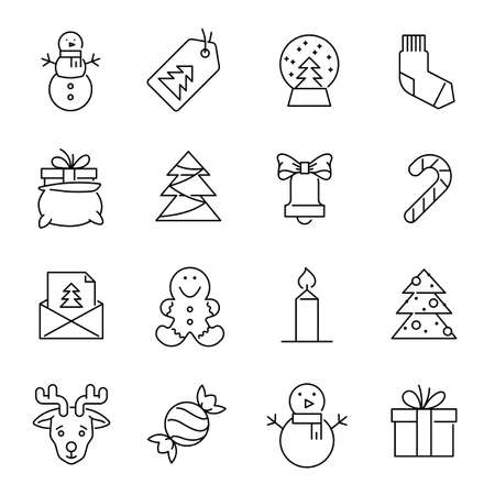 Christmas icons -Xmas tree, snowman and gifts Stock Photo