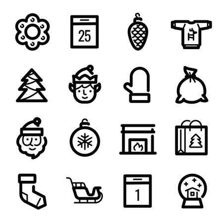 Christmas icons - Santa Claus, elf and sled