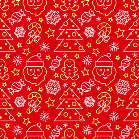 Green seamless pattern with Santa Claus and candy canes. Xmas background for fabric, wallpapers, cards and wrapping paper. Graphic winter ornament.