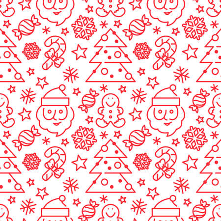 Seamless pattern with Santa Claus and candy canes. Xmas background for fabric, wallpapers, cards and wrapping paper. Graphic winter ornament.