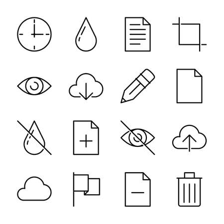 Basic icons - Cloud, drop, eye and document