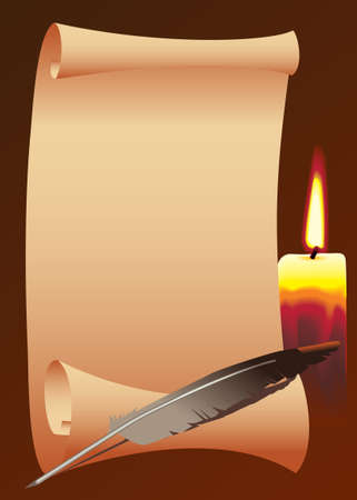 Roll of paper with a candle, and bird feather. Vector